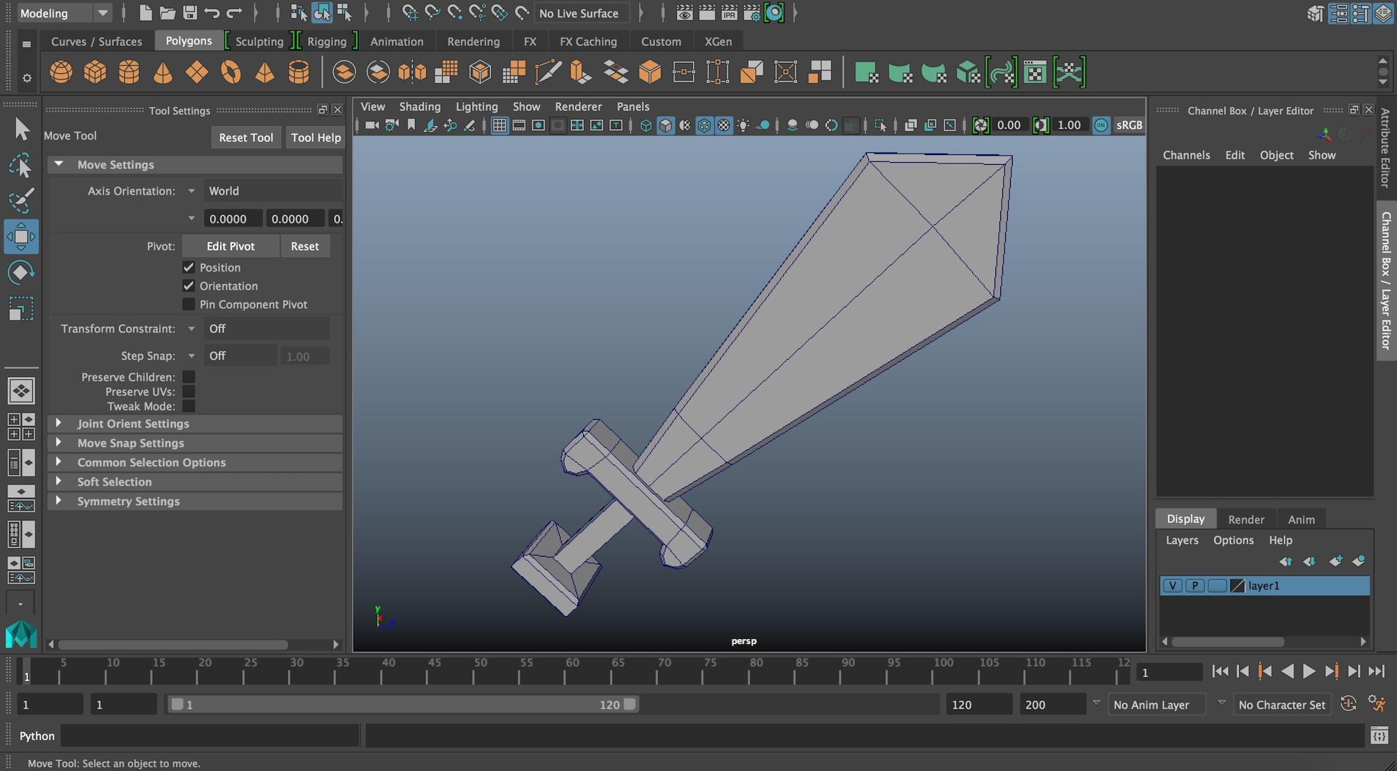 Autodesk Maya 小物(剣)のモデリング