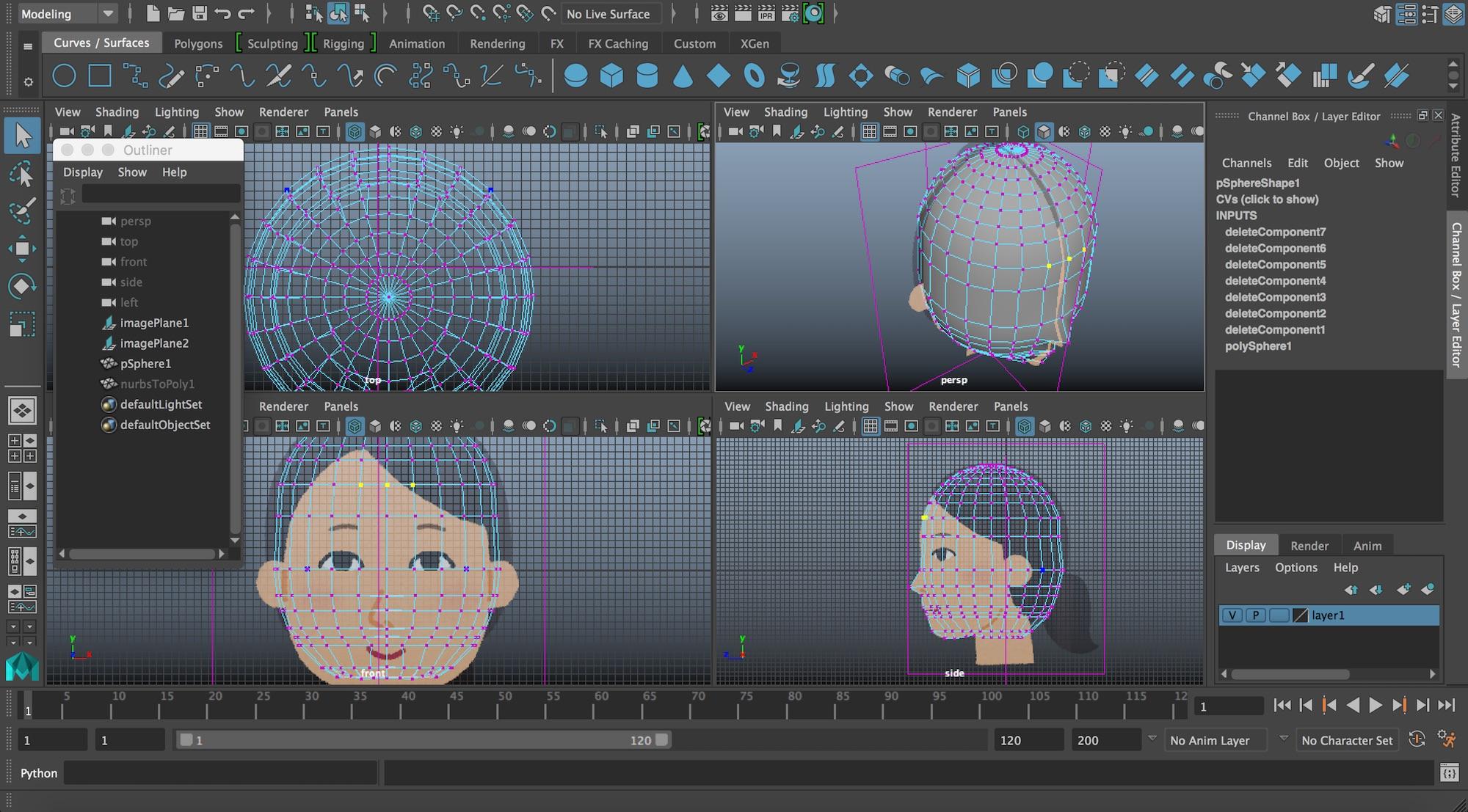 Autodesk Mayaキャラクタ(頭部)のモデリング