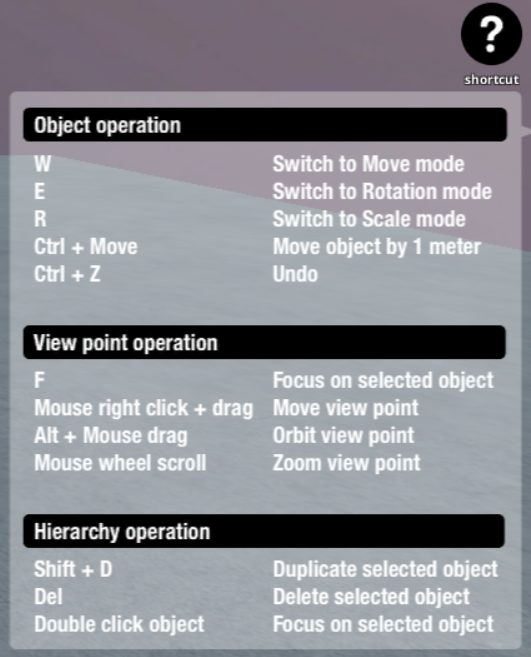 Shortcut key list for the STYLY Web Editor | STYLY