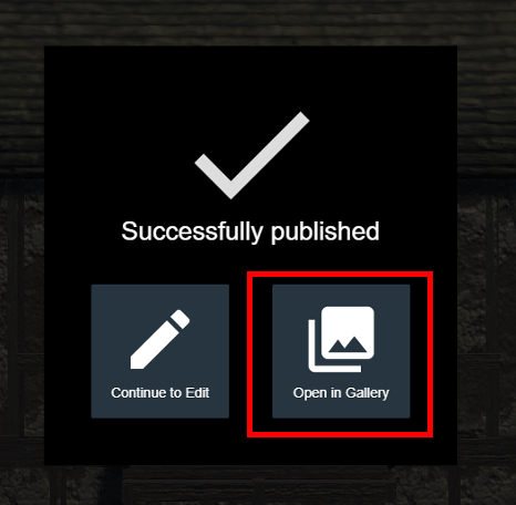 Publish screen After clicking the Publish button