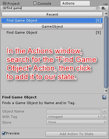 「Find Game Object」アクションを追加