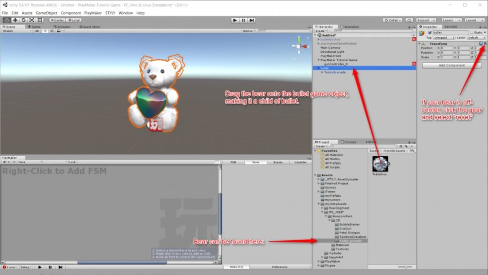 Using PlayMaker to create a game, and exporting it to STYLY