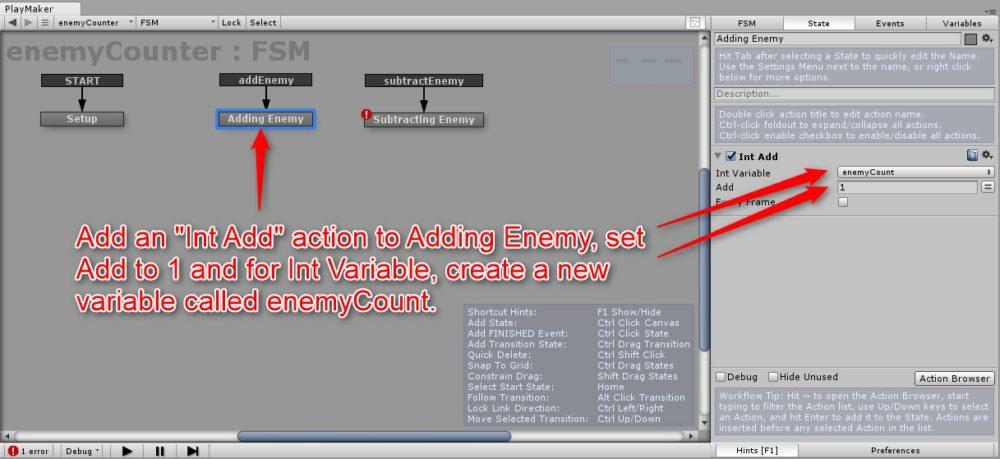 Adding EnemyステートにInt Addアクションを設定