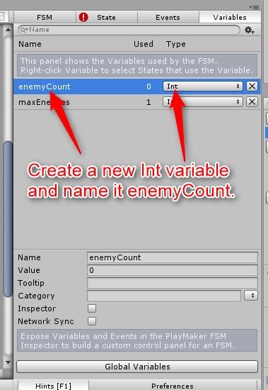 enemyCount変数を作成