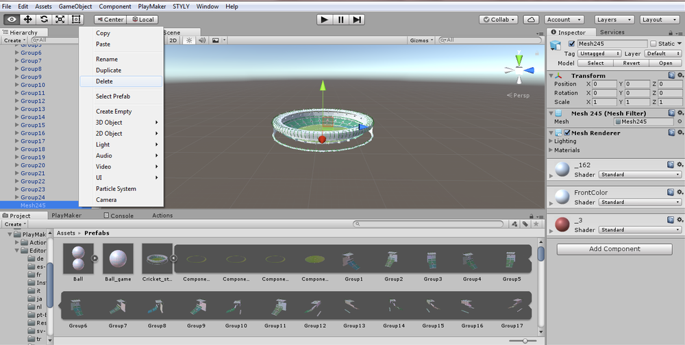 Cricket Stadium Tutorial: Using Playmaker to throw objects from controller