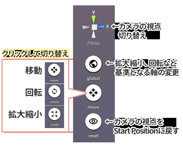 画面右側のボタン