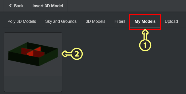 Select the 3D object you uploaded