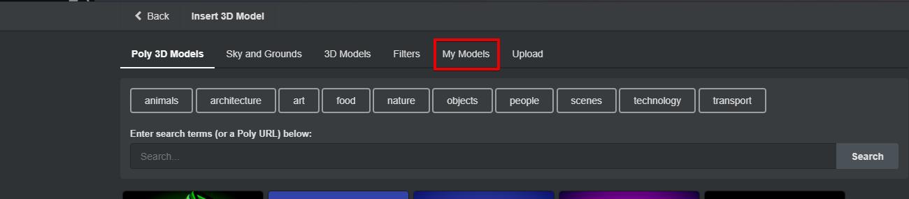 My Modelsの選択