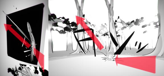 Apple Bunny #2で3次元的にコマを進めるために行った漫画効果による誘導
