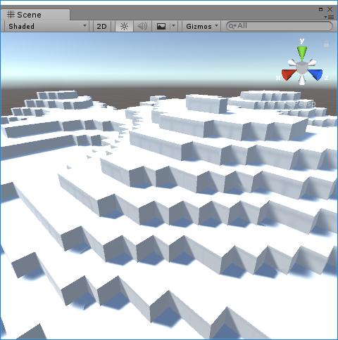 Unityのランダム関数を使って、地形っぽくキューブを配置します。