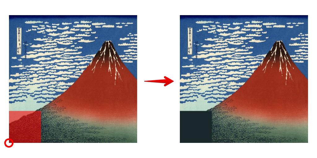モザイク左下の四角の色の対応