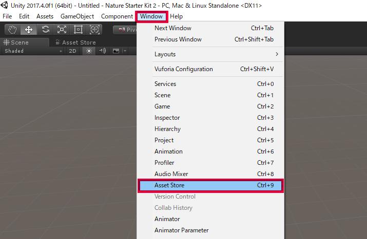 Unity画面 Window→Asset Store選択