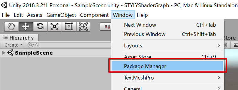 Package Managerを起動