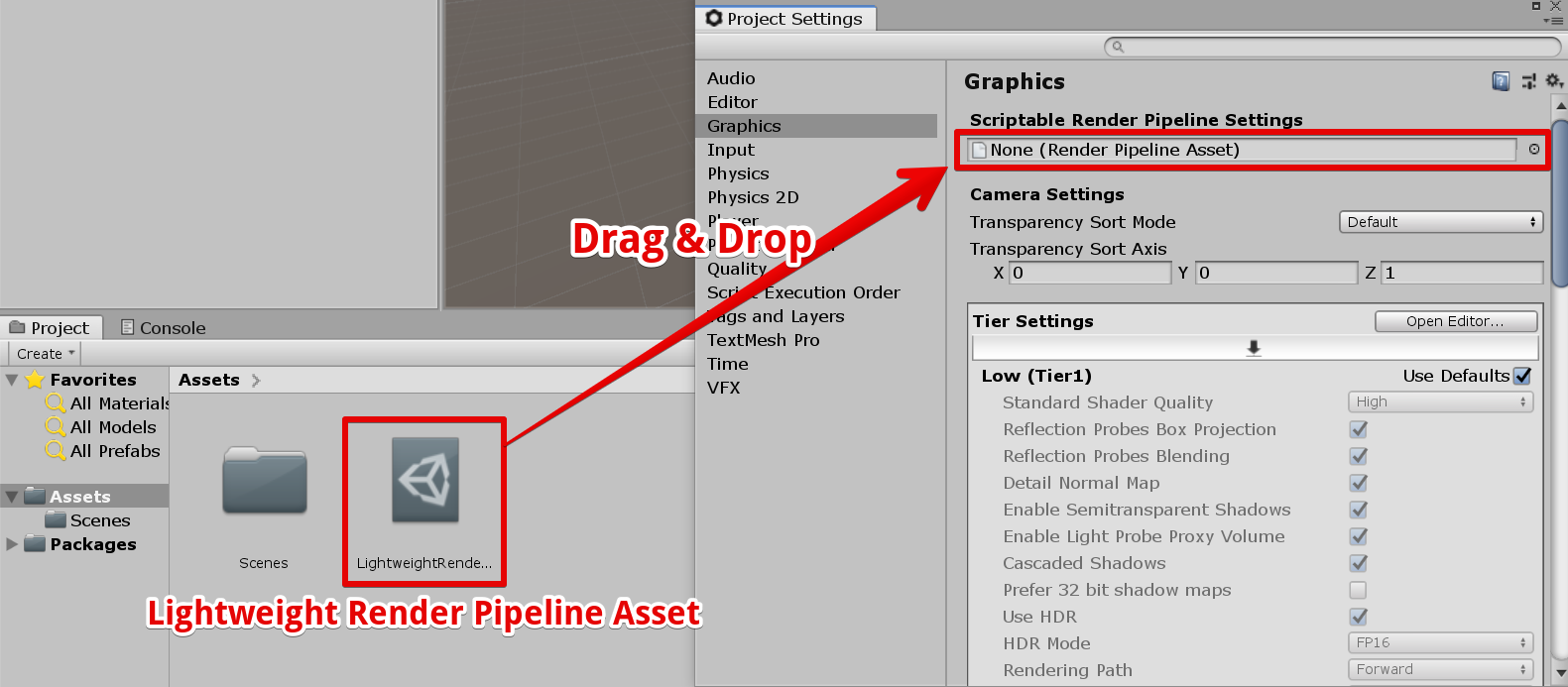 Lightweight Render Pipeline アセットを登録