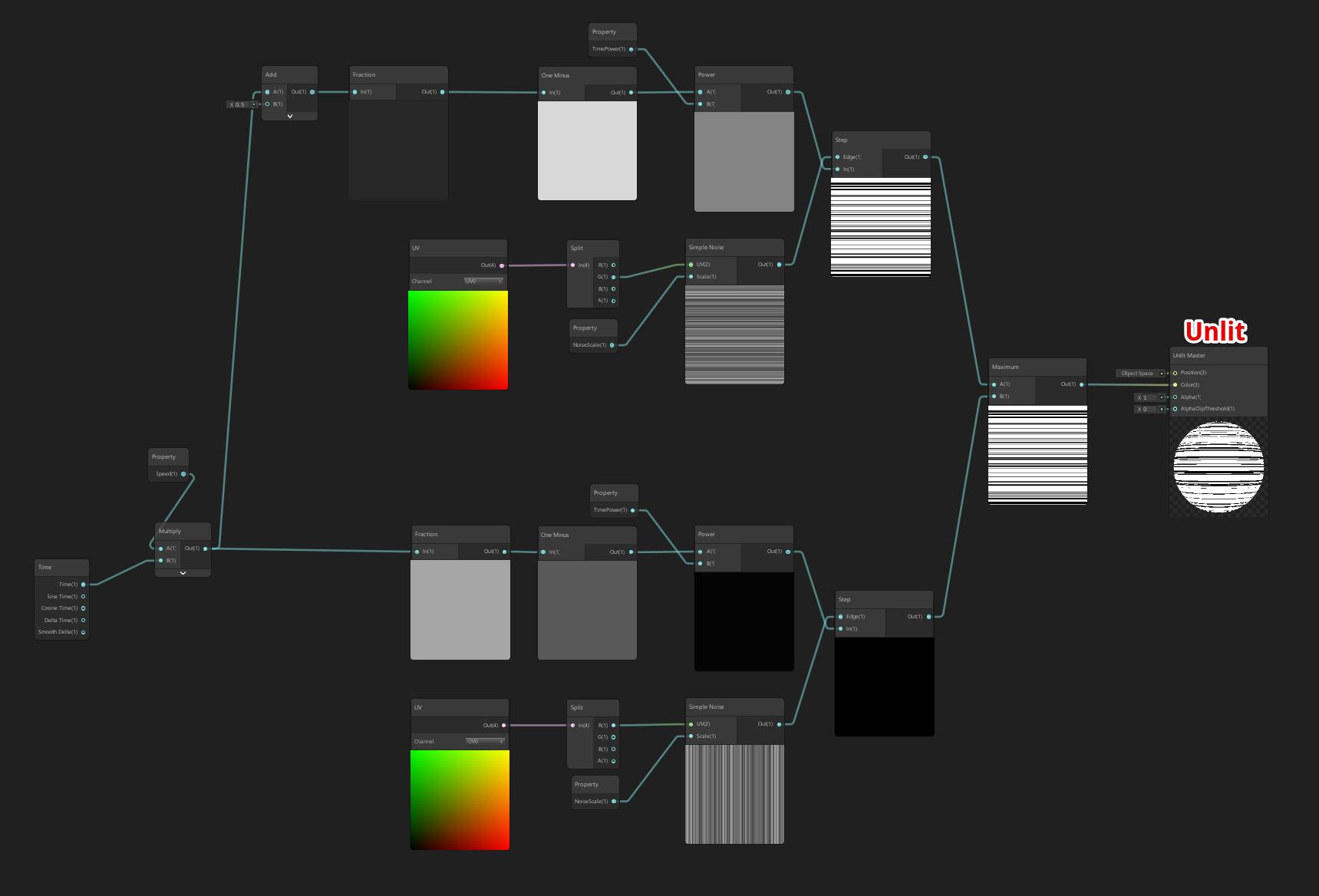 縦のノイズと横のノイズを交互に表示するシェーダーグラフ