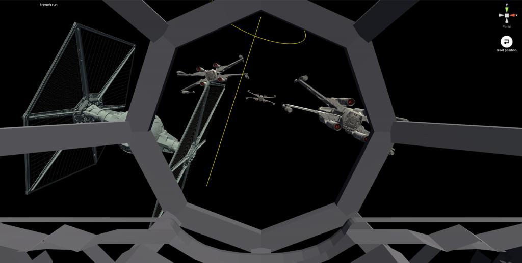 操縦席が見えるよう「Vader Tie Fighter」を配置する