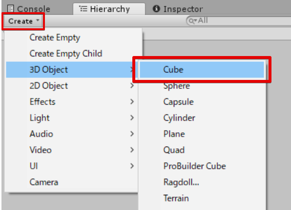 Cubeを作成