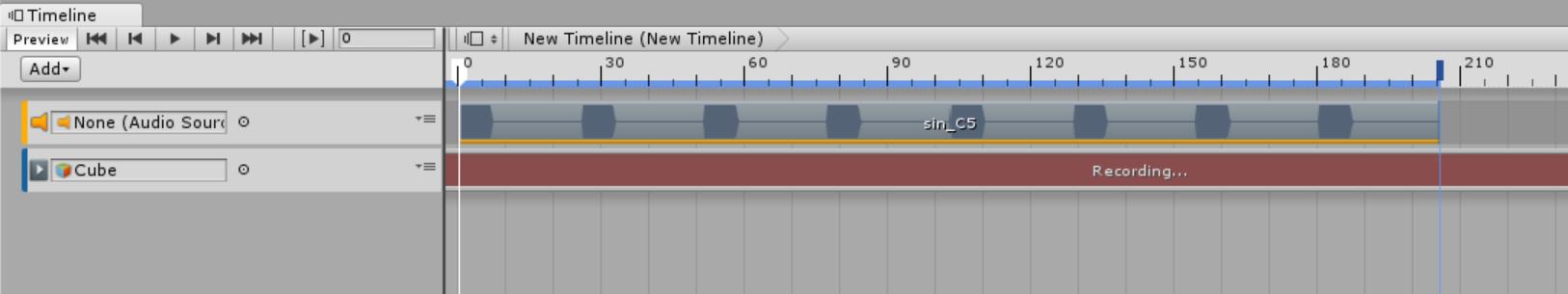 Recording状態のTimeline
