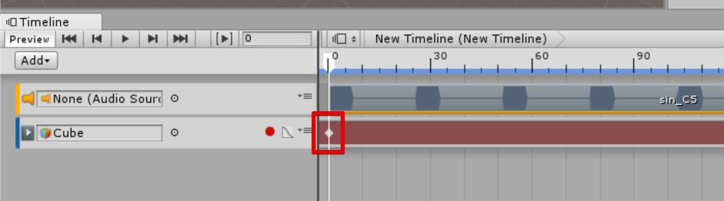 Timelineのシークバーの位置にキーフレームが追加される