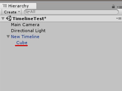 Timelineオブジェクトの中にCubeを入れる