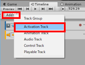Activation Trackを作成