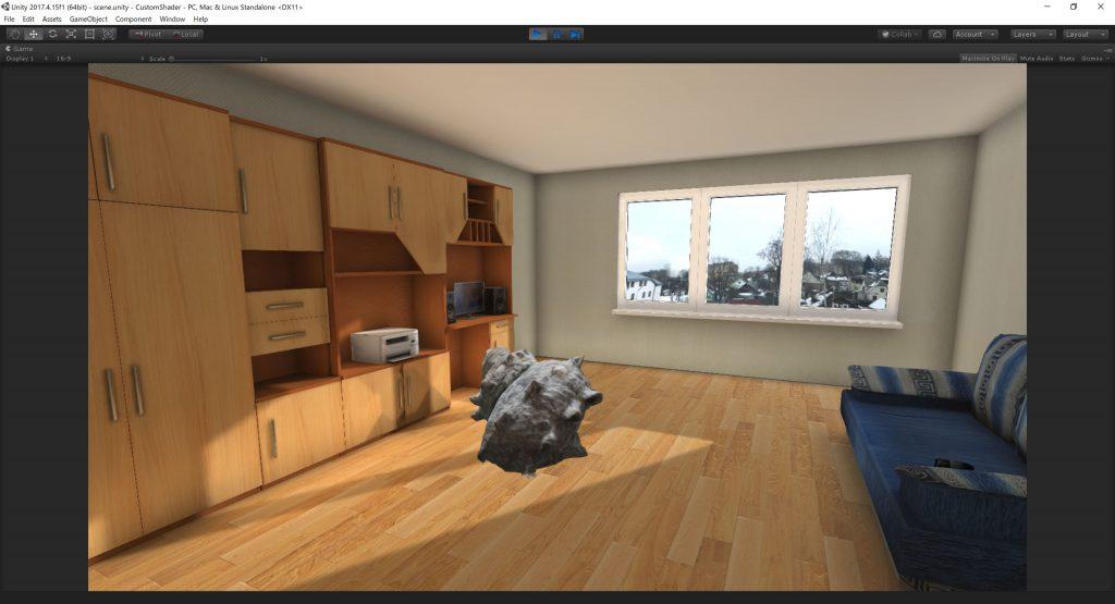 Unlit Cast Shadowシェーダーを使用しない合成画像のようなサザエ