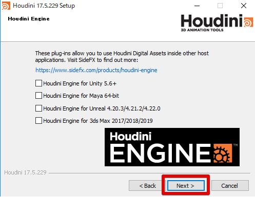 HoudiniEngineインストール画面