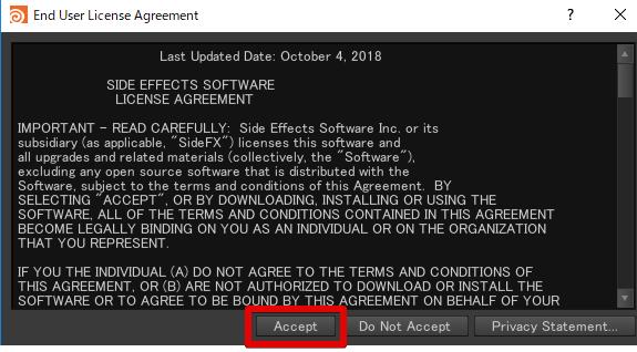 Acceptをクリック
