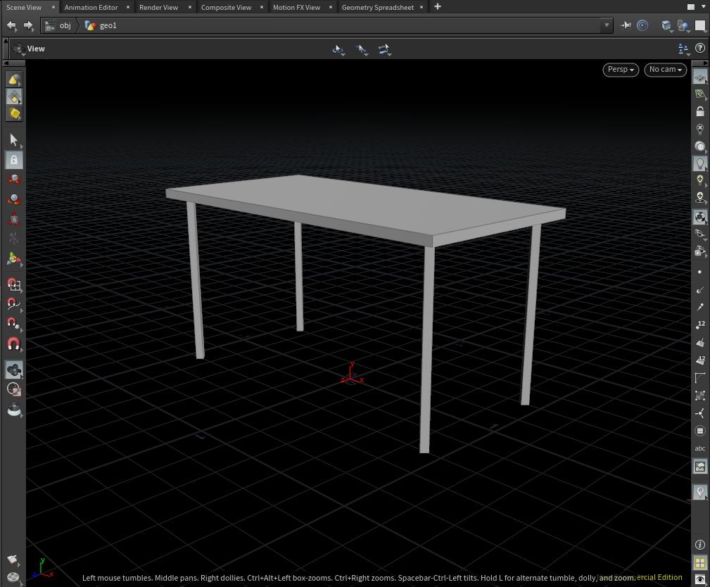 テーブルが地面の上に乗っている