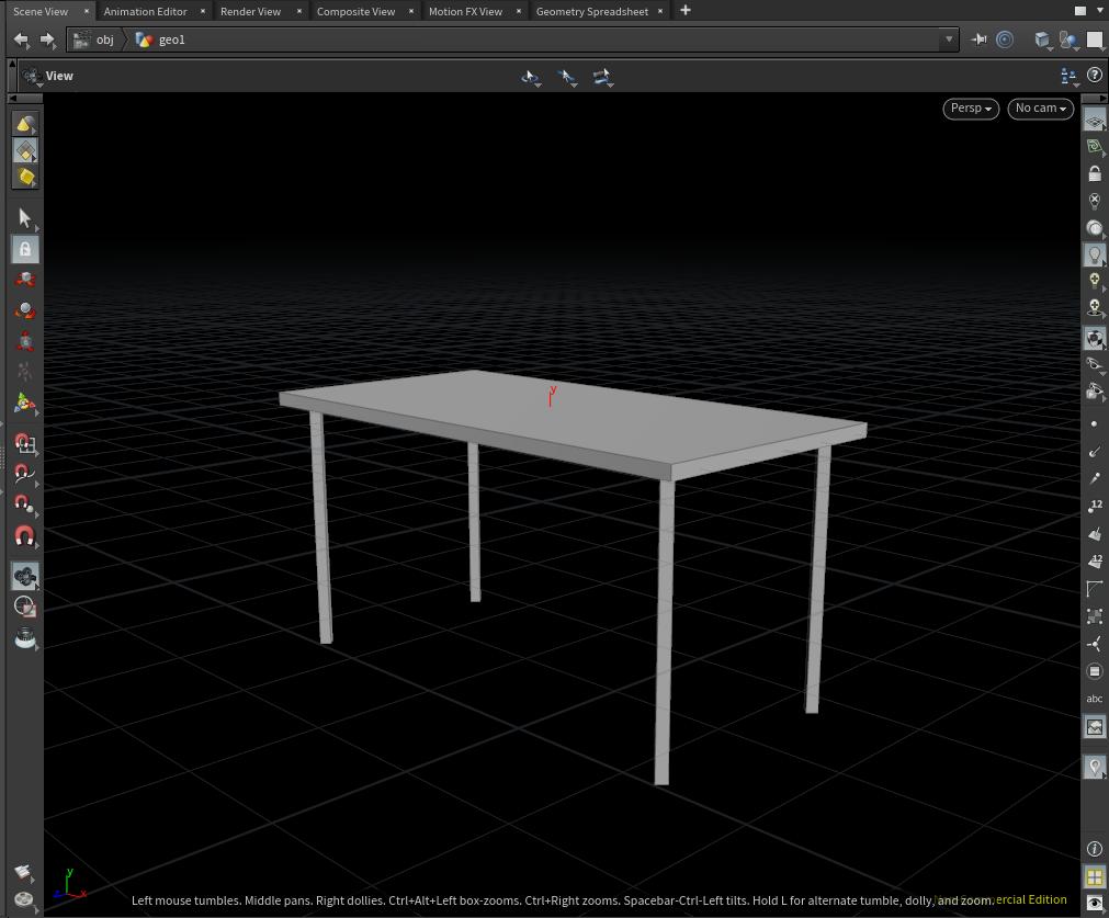 テーブルの脚がXZ平面を突き抜けている