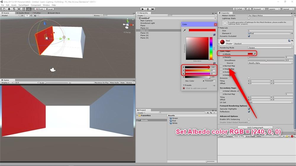 壁のマテリアルの設定。RGB=(240,0,0)とした。
