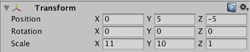 frontのインスペクターの数値