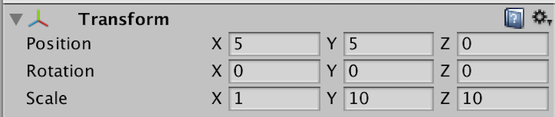 leftのインスペクターの数値