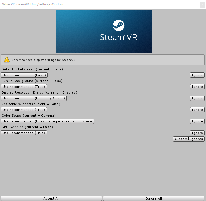 SteamVR Pluginのインポート