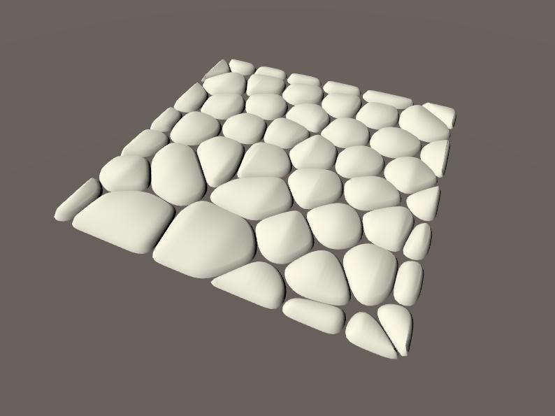 正方形の板ポリゴンから作成した丸石の床