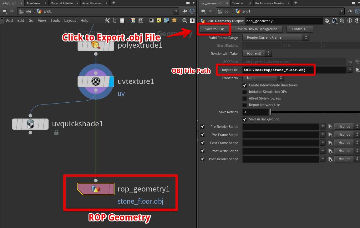 ROP Geometryノードを利用してOBJファイルをエクスポート