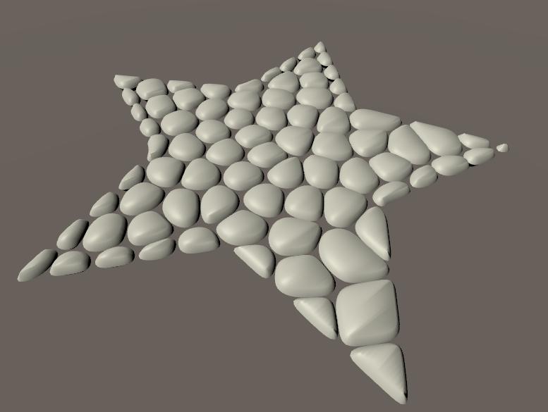 星形の板ポリゴンから作成した丸石の床