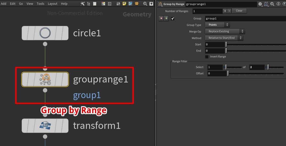 CircleノードにGroup by Rangeノードを接続