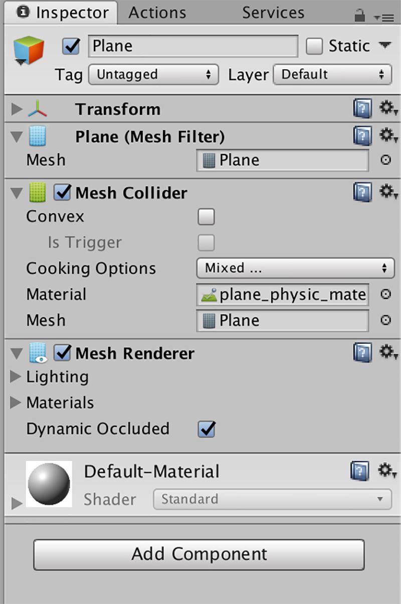 Planeにplane_physic_materialを追加する