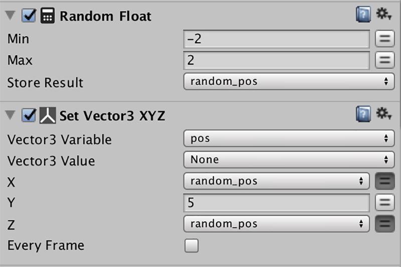 Random FloatとSet Vector3 XYZアクションを追加する