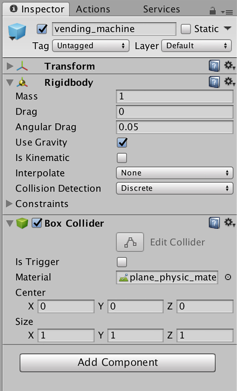 Box Colliderにplane_physic_materialを追加する