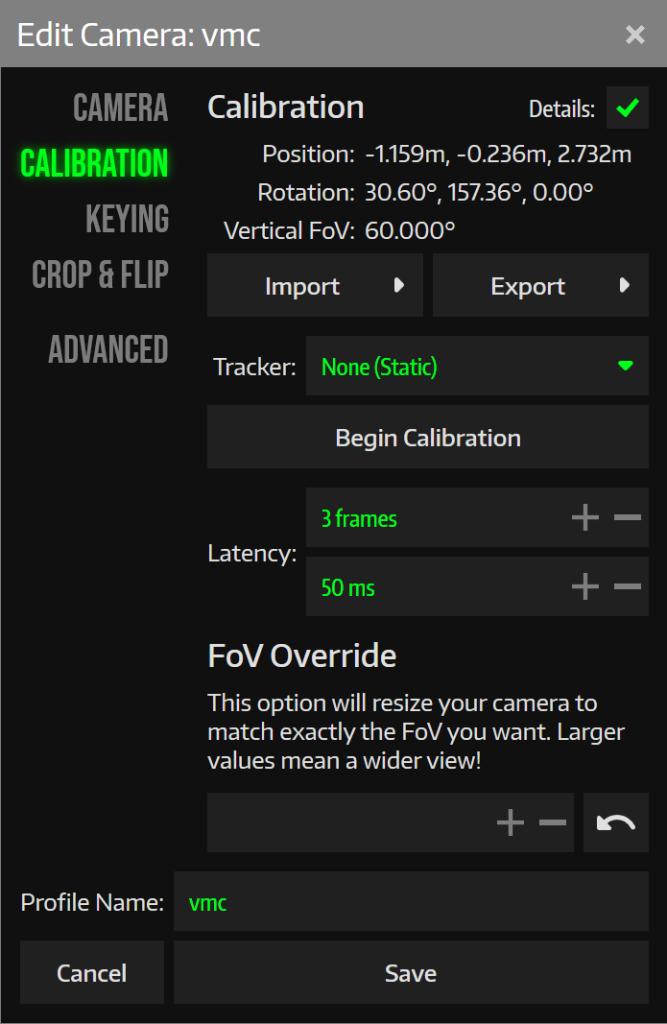 これでVMCのカメラと同じ位置に