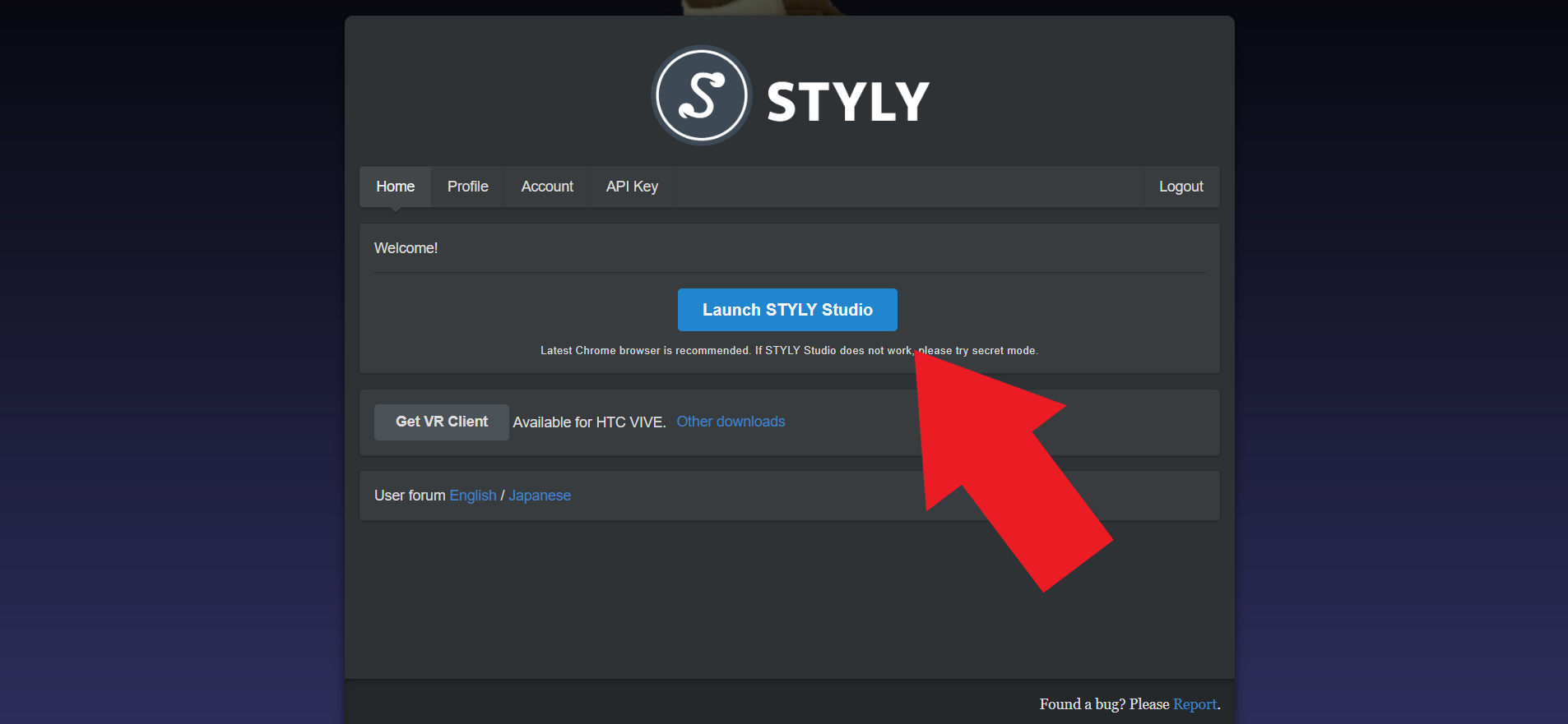 Launch STYLY Studioをクリック