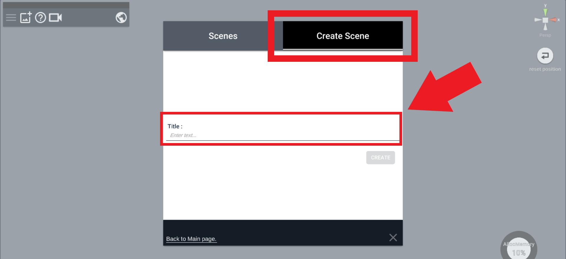 Create Sceneをクリック。新しくSceneを作成します