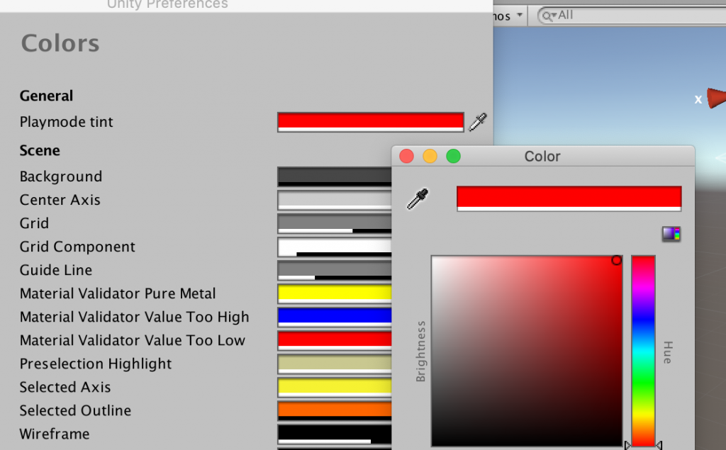 Playmode tintを赤に変更