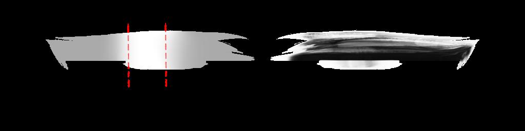 中心に白、両端にグレーをおき「ぼかしツール」で馴染ませる