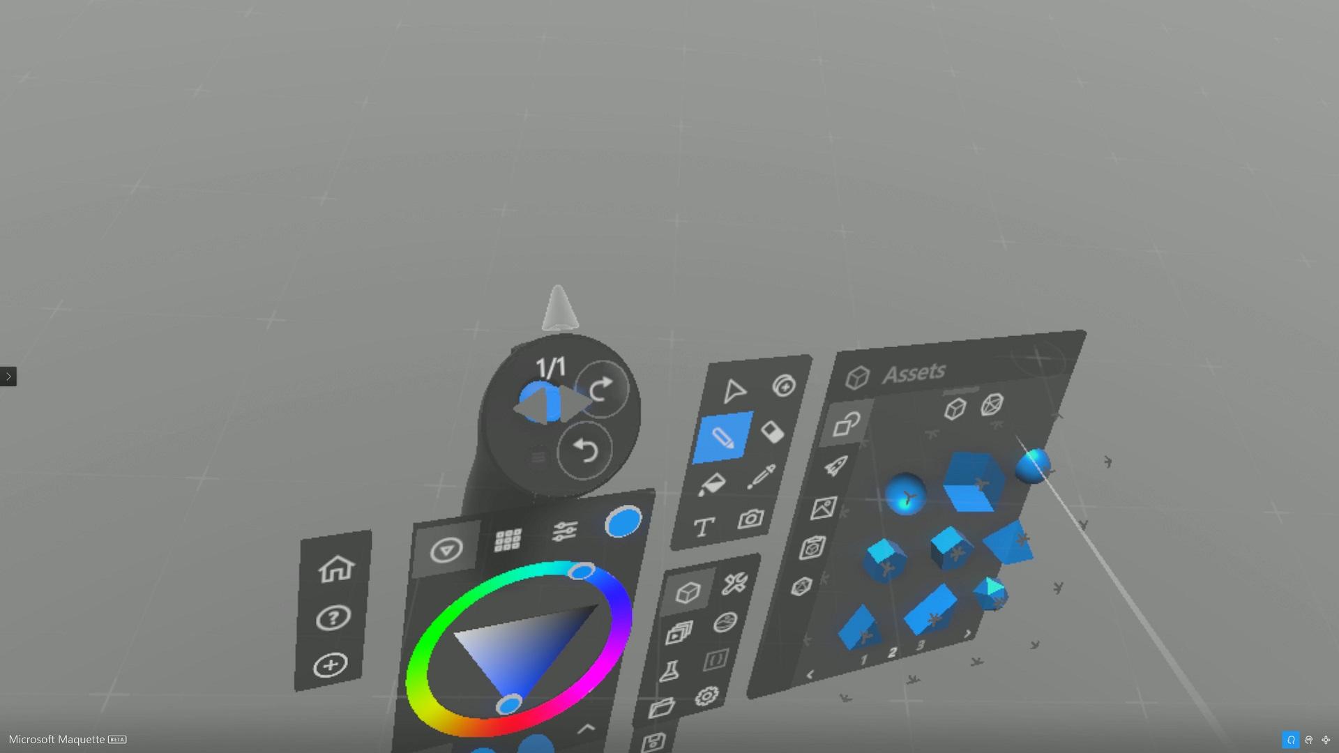 Maquetteの基本オブジェクトは下半分の左上のアセット欄から選択できる