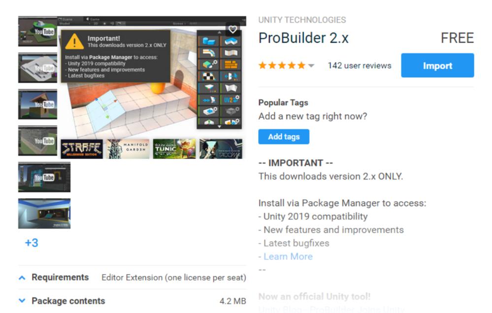 Unity ProBuiilder アセットストア画面