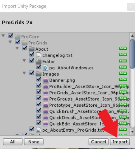 Pro Grids インポート画面