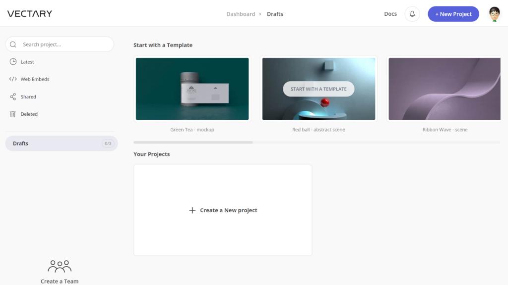 VECTARYのダッシュボード。プロジェクトの管理や共有、削除が行える。